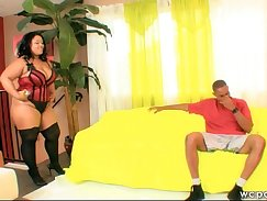 Big tittied, black haired BBW gets her athletic booty fucked in various positions