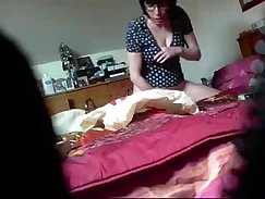 amateur UK girl playing with toy while friend on hidden camera