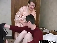 Boy and granny strap on and young anal teased