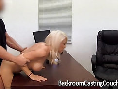 Busty female agent sucking and fucking hard in fake casting