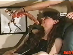 Addicted to dildo brunette MILF gives deepthroat to pecky dick