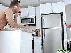 Charming and naughty step dad cums licks moms pussy