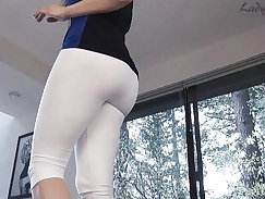Candid fluffy ass in white leggings