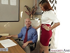 Blonde babe Lola learns to tear up at the office