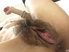 Asstastic Japanese sex doll Ramon fondles her penis in sideways pose