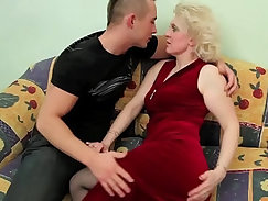 Blonde milf auburn girl that has young tits is having a tough time
