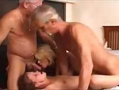 Brunette Granny in a Threesome with Cute and Young Chick