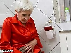 Young harem blond Granny Hungry gives hairy head