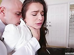 Petite babe pleasures herself to exhaustion and gets fucked by a big cock