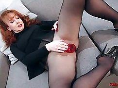 Lingerie redhead enjoys the suck sex