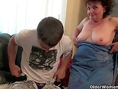 Russian Mom tight Carmen massagers her mans cock after night out