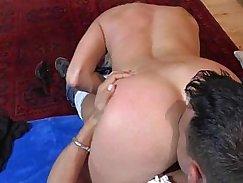 Tattoed cougar banged on hotel sofa