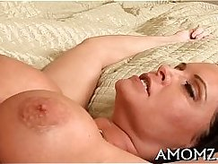 Hot mature lady fucks her cock with a vibrator