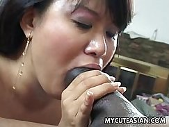 Asian sub fucked by black man from bed