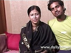 Horny indian couple fucking pussy on the couch