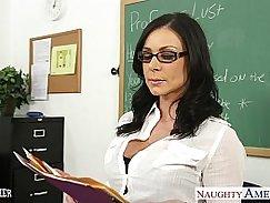 Sexy brunette teacher likes facial