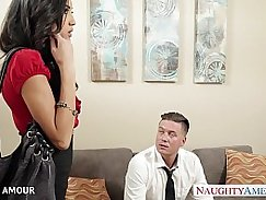 Latex babe fucked in office for money