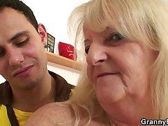 Blonde grandma enjoying hardcore at home