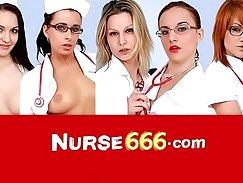 Asian nurse plays with wet vagina