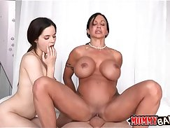 Busty stepmom naked and sexy threesome in bed