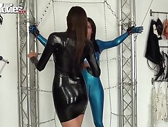 Ardent lesbian chicks wear sexy latex and chains
