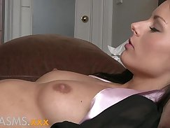Cute brunette caress orgasms on dick of her lesbian guy