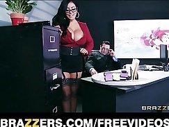 Busty boss wearing sexy lingerie Lynn Dexter enjoys pleasuring her cunt